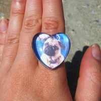 Customized Pet photo heart ring - Pet lovers ring