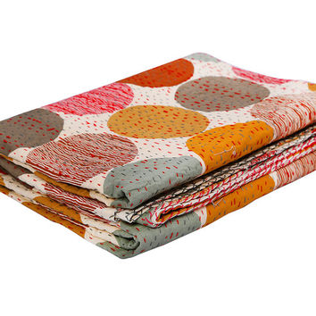 red mood polka dot kantha quilt kantha bedding indian bedding reversible quilt