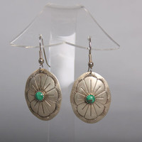 70s STERLING Navajo EARRINGS / Silver Concho MALACHITE Drop Earrings