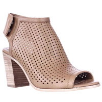 STEVEN Steve Madden Suzy Perforated Open Toe Heel Ankle Booties - Tan