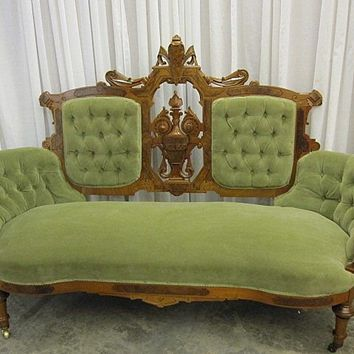 Antique 1800's Sofa Victorian Style Walnut w Burl Wood from countryclassicantiques on Ruby Lane