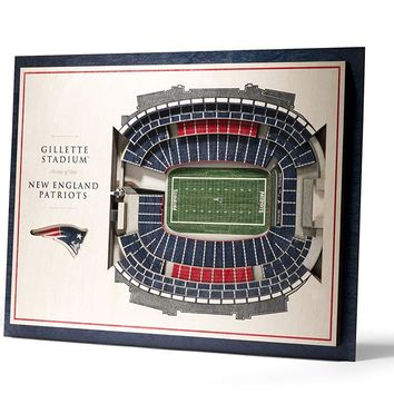 New England Patriots Gillette Stadium View 5-Layer 3D Wall Art