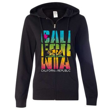 California Republic Neon Retro Bold Ladies Zip-Up Hoodie