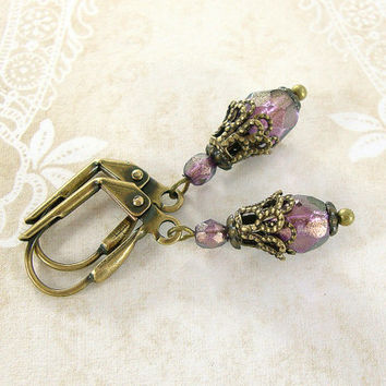 Shimmery Dainty Purple Earrings - Czech Glass Purple Bead Earrings - Vintage Style Antique Brass Jewelry - Boho Purple Bronze Earrings