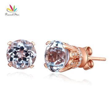 14KT Rose Gold Stud Clear Topaz Earrings Natural 0.12 Ct Diamonds