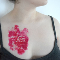 Temporary Tattoo Watercolor Quote - Albert Einstein, Geek, Fandom, Pink, Quote, Large
