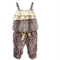 Hot Children's Baby Girls Summer Clothes Leopard Vest+pants Sets Outfits 2pcs (2-3Y)