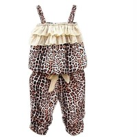 Hot Children's Baby Girls Summer Clothes Leopard Vest+pants Sets Outfits 2pcs