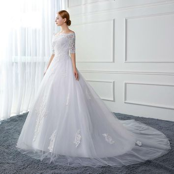 Ball Gown Wedding Dresses off the Shoulder Half Sleeve Appliques Lace Up Wedding Gowns Bridal Dresses