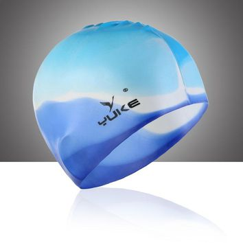 new  multicolor optional no head ear Swimming Cap Super Elastic Silicone Unisex hair silicone waterproof