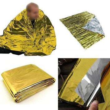 VONL8T Waterproof Gold Color Aluminum Foil Emergency Blanket Windproof Outdoor First Aid Survival Rescue Curtain Camp Tent 210x140cm