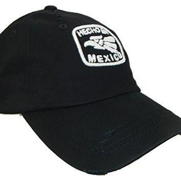 Hecho En Mexico Adjustable Vintage Polo Baseball Cap Dad Hat(One Size, Black/White)
