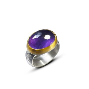 Amethyst Honeycomb Cut Silver and 22k Gold Ring