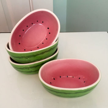 KITSCHY WATERMELON BOWLS Vintage 1950s 1960s Set of 4 Figural Watermelon Bowls Pink and Green Made in Japan Kitchen and Dining Serving Chic