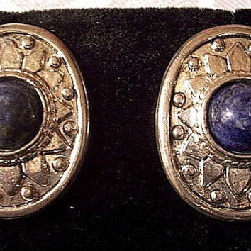 Blue White Marbled Lapis Bead Pierced Stud Earrings Silver Tonve Vintage Applause Large Oval Decorative Imprinted Pattern Raised Nail Heads