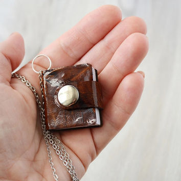 Leather mini book necklace Leather notebook charm Tiny notebook pendant Brown leather journal Wearable book Small leather book with chain