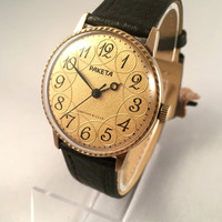 "RARE Vintage Sleek Soviet men's watch ""Raketa"" (Rocket), mechanical watch, gorgeous gold tone dial, great gift idea for him."