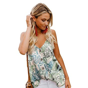 modest Sky Blue Floral Print Button Down Tank Top
