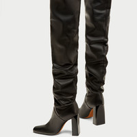 OVER-THE-KNEE HIGH HEEL LEATHER BOOTS DETAILS