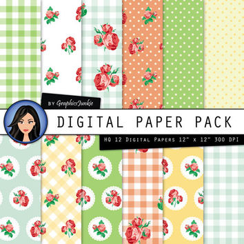 "Rose Digital Paper: ""COTTAGE CHIC"" with Rose Pattern - Rose Background - English Garden - Shabby Style - Polka Dots - Rose Wallpapers"