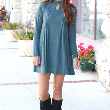 Long Sleeve Pleated Cut Out Sweater Dress {Slate Green}