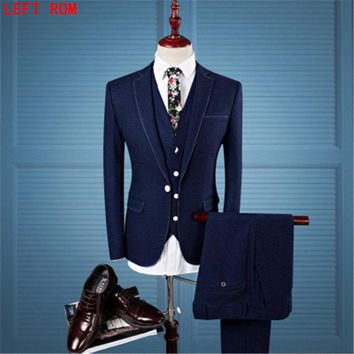 Wool Retro Grey Herringbone Tweed British style custom made Mens suit tailor slim fit Blazer wedding suits for men 3 piece