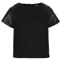 MOTO Leather T-shirt - New In This Week - New In - Topshop USA