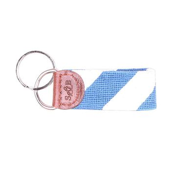 Repp Stripe Needlepoint Key Fob in Blue and White by Smathers & Branson