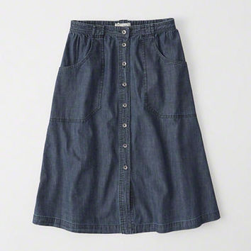 Womens Denim Midi Skirt | Womens Bottoms | Abercrombie.com