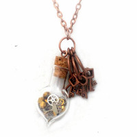 Steampunk Vial Necklace with Cogs and Gears, Minature Skeleton Keys, Copper Toggle Clasp