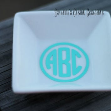 Circle Monogram With Circle Around Letters Ring Dish