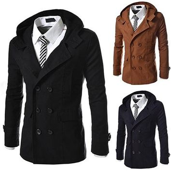 Men's Autumn Winter Lapel Double Breasted Windbreaker Trench Coat Outwear