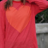Pink Long Sleeve Top with Oversize Heart Print Front