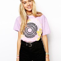 Your Eyes Lie T-Shirt With Tye Dye And Geo-Tribal Print - Multi