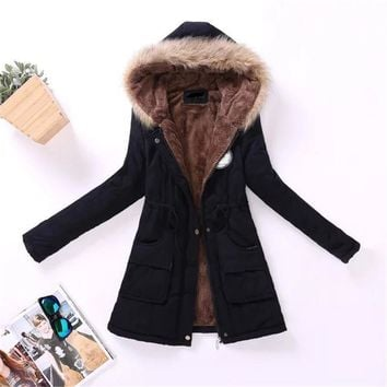 2017 new winter women jacket medium-long thicken plus size outwear hooded wadded coat slim parka cotton-padded jacket overcoat