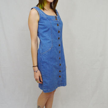 Denim Dress 90s Short Small MED Preppy Hipster Soft Grunge Hippie Vintage Knee Length Dress Light Wash Blue Button Front 1990s Womens