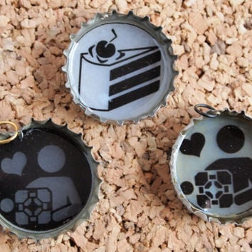 Portal Bottle Charms - upcycled jewelry necklace geekery cake companion cube designs gamer FREE shipping to USA