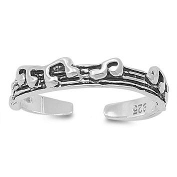 Sterling Silver Music Staff 3MM Toe Ring/ Knuckle/ Mid-Finger