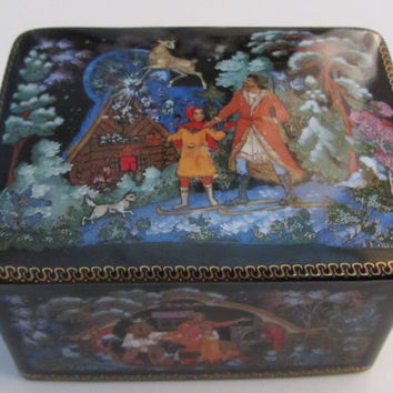 Porcelain Russian Box Done in The Palekh Style of Miniature Painting