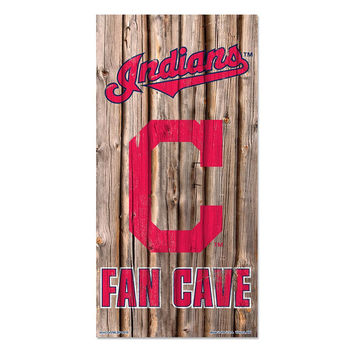 Cleveland Indians MLB Fan Cave Retro Wood Sign (6in x12 in)