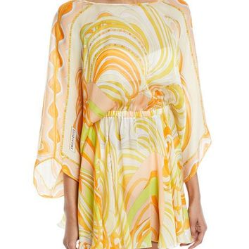 Emilio Pucci Baia Printed Silk Chiffon Mini Dress with Back Tie