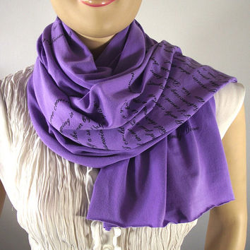 EMILY DICKINSON Love Poem Scarf - Lavender - Jersey Scarf Book Quote Text Scarf Literary Scarf San Valentin Gift - 15 COLORS
