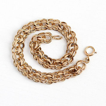 Fancy Link Bracelet - 12k Rosy Yellow Gold Filled 7 3/4 Inch Wrist Chain - Retro 1970's Wide Statement Layering Stacking 70s GF Jewelry