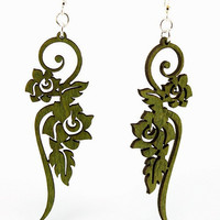 Long Flower Ornament Laser Cut Wood Earrings by GreenTreeJewelry