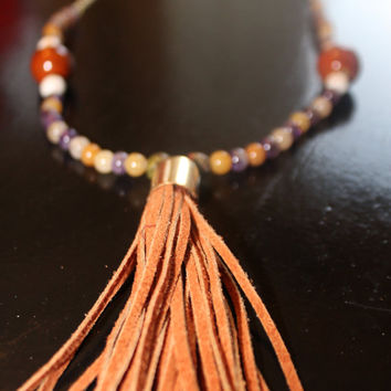 Caramel Nubuck Leather Capped Tassel on Beaded Gold Chain