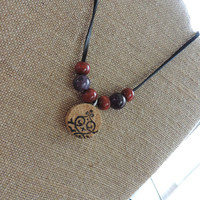 Real wine cork necklace Gifts under 20 Gifts for her Statement necklace (N057)