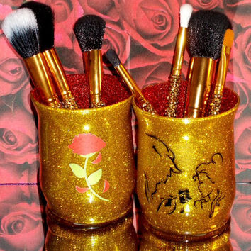 2PC set Beauty and the Beast Makeup Brush Holders - YOU CUSTOMIZE!