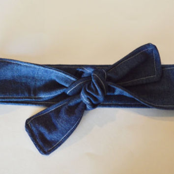 Denim women/teen/children/toddler/baby tie headwrap, all sizes headwraps/headband, blue jean retro style headwrap