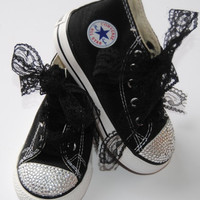 Black lace with bling converse