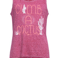 Full Tilt Climb A Cactus Girls Tank Burgundy  In Sizes
